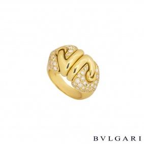 Bvlgari Yellow Gold Diamond Doppio Cuore Ring